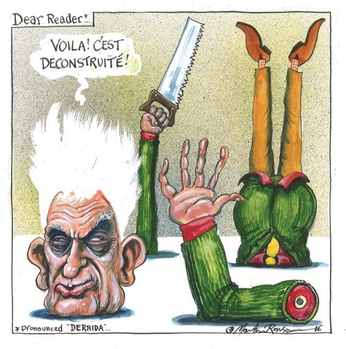 """Un fumetto di Derrida in cui lui è """"decostruito"""" da una sega"""